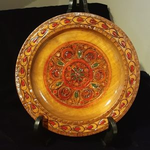 Beautiful Handcarved decorative Wood plate